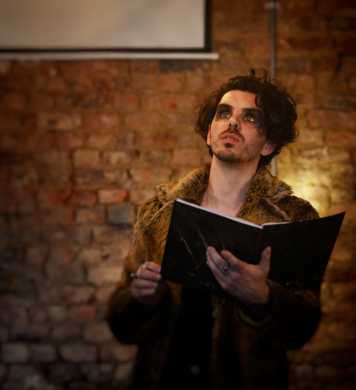 Andrew Bate stars as Wolf in Moth Sanctuary Productions performance of In The Company of Wolves at Cheltenham Literature Festival 2019.